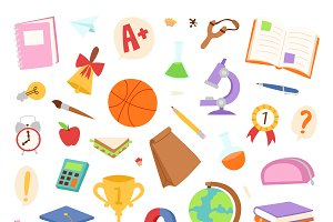 School icon flat vector set