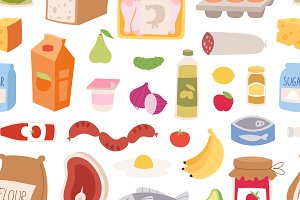 Everyday food seamless pattern
