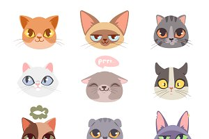 Funny cats hads vector set