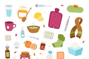 Flu influenza vector icons