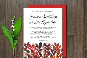 Wedding Invitation Watercolor Flower