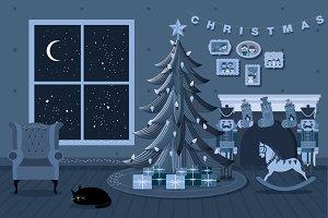 christmas at home - night vector