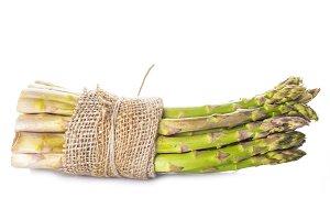 Asparagus bundle on a white background