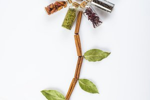 Flower made of spices and herbs