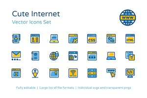 125+ Cute Internet Vector Icons Set