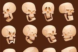 Pirate skull cartoon faces vector