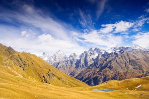 Landscapes with high mountains