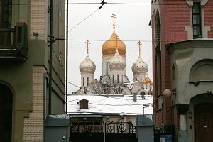 Old streets of Moscow City in winter, Russia - December 03, 2016