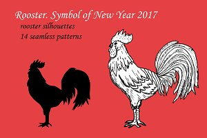 Rooster Silhouettes and Patterns