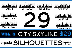 29 City Skyline Silhouettes Set 3
