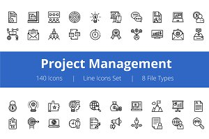 125+ Project Management Line Icons