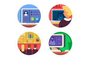 Meeting or web conference icon set