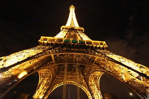 Eiffel tower at night, wide angle