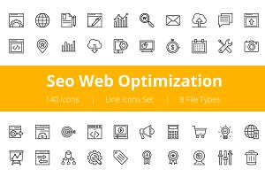 125+ Seo Web Optimization Line Icons