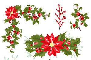 Christmas holly berries vector set