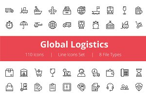 100+ Global Logistics Line Icons