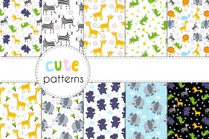 10 Patterns with cute animals.