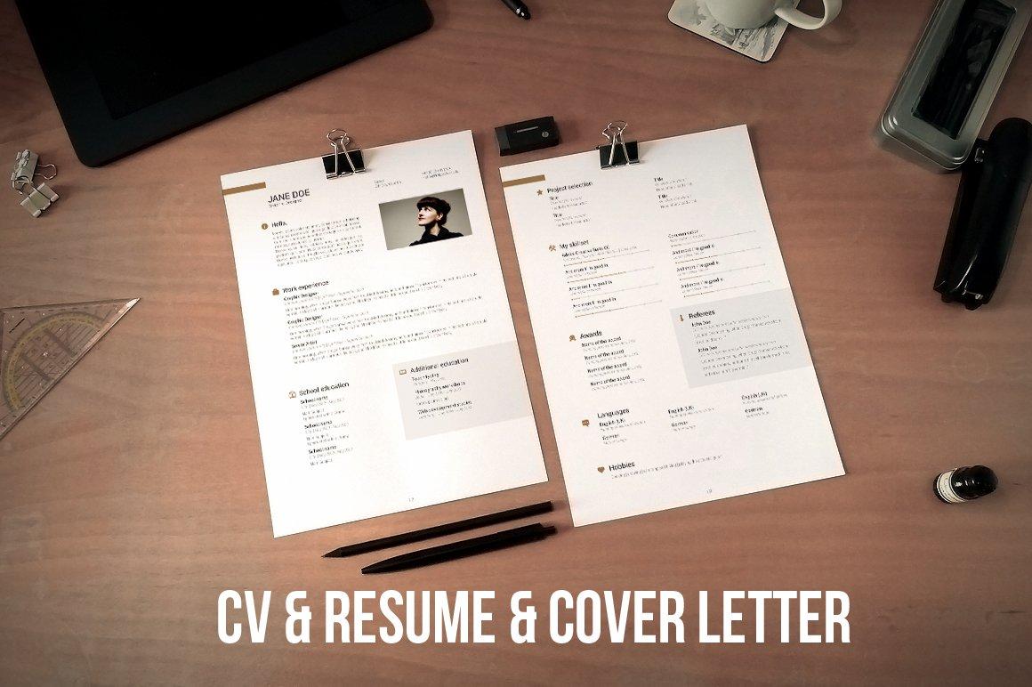 Cv Resume And Cover Letter Set V2 Resume Templates Creative Market