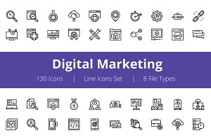 125+ Digital Marketing Line Icons