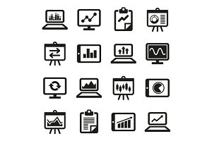 Diagram and Graphs Icons Set