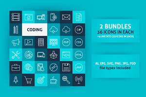 Coding Line Art Icons