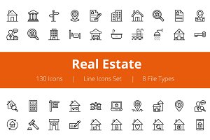125+ Real Estate Line Icons