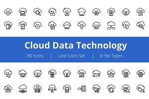 75+ Cloud Data Technology Line Icons