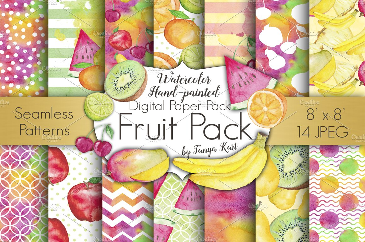 Fruit Watercolor Digital Papers Pack Creative Daddy