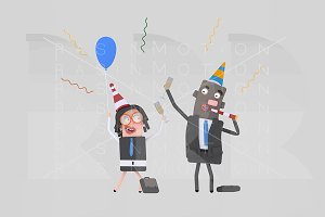 3d illustration. Businessmen party.