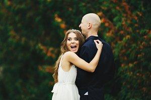 Bride looks funny