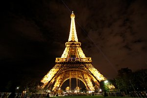 Eiffel Tower illuminating at night