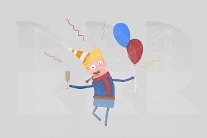 3d illustration. Blonde man toasting