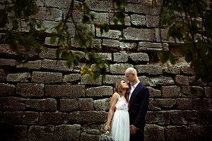 Bride looks in groom's eyes