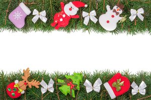 Christmas frame made of fir branches decorated with silver bows Snowman and Santa Claus isolated on white background