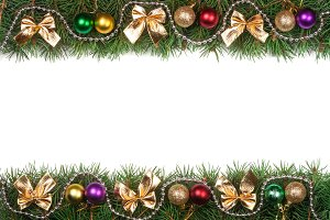 Christmas frame made of fir branches decorated with balls beads and golden bows isolated on white background