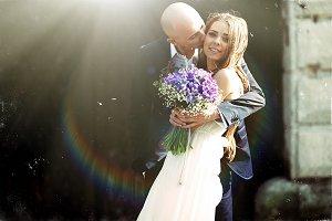 Bride looks fabulous with groom