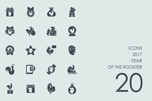 2017 year of the rooster icons