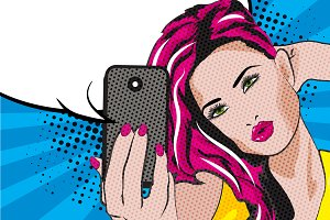 Pop Art Woman Taking Selfie.