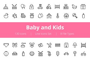 125+ Baby and Kids Line Icons