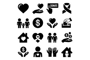 Charity and Care Icons Set