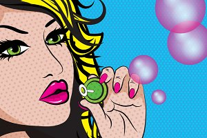 Pop Art Women Blowing Soap Bubbles.