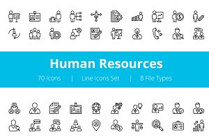 70 Human Resources Line Icons