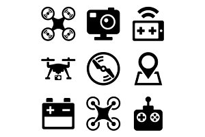 Quadcopter and Drone Icons Set