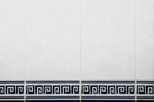 blue and white tile on the wall