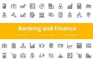 125+ Banking and Finance Line Icons