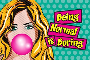 Pop Art Woman with Gum-Normal/Boring