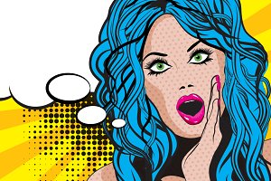 Pop Art excited Woman.