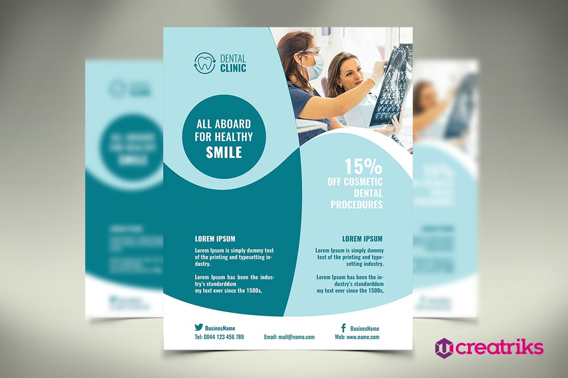dental brochure templates - dental clinic flyer flyer templates creative market