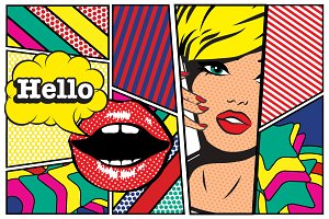 Pop art Card Woman with Phone-Hello.