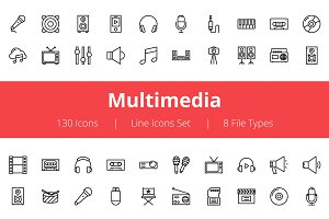 125+ Multimedia Line Icons
